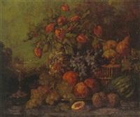 stilleben mit früchten und blumenstrauss by marie weger-kleinbardt