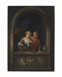 a young couple at a window with a classical relief by louis de moni