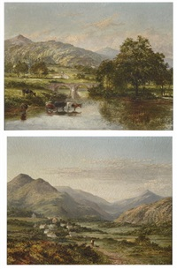 mount elbury, with figure and dog on lane, and mount elbury, with cattle watering in a river (2 works) by david bates