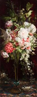 bodegón con jarrón de flores y tórtolas by ricardo martí aguiló