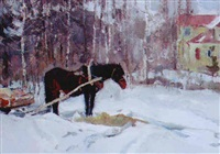 horse and cart in the snow by leonid vaichlia