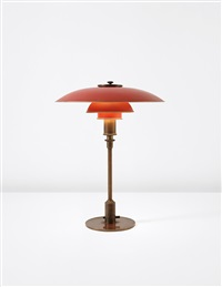 early and rare table lamp, with type 4/3 shades by poul henningsen