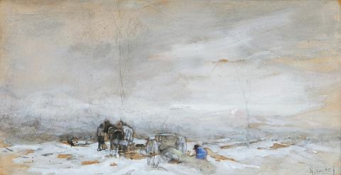 plough team in a snowy landscape by anton mauve