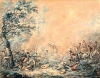 een gevecht geleverd in noord-holland tijdens de inval der engelsen en russen in 1799, tussen franse republikeinen en engelse kavalerie by dirk langendyk