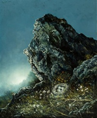 craggy landscape with bird's nest and eggs by juhani honkanen