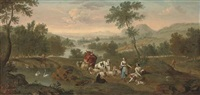 an extensive river landscape with a shepherd and his flock with a maiden and other figures by peter tillemans