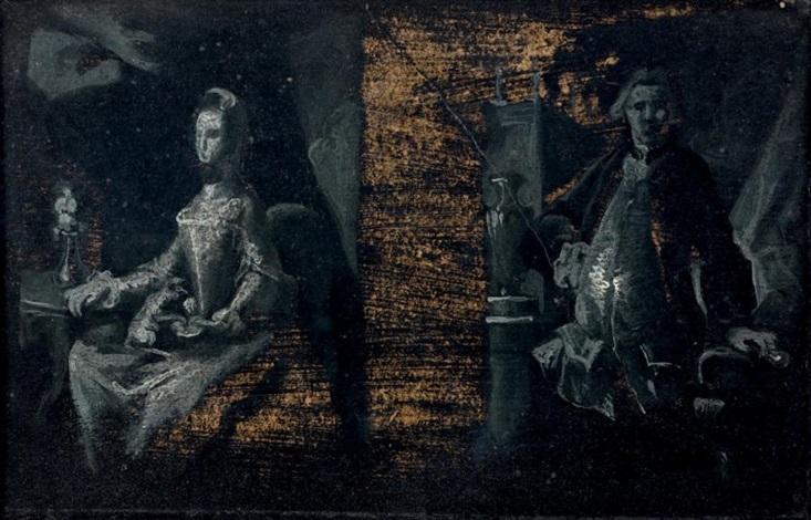 portrait dun homme debout appuyé et portrait dune femme assise près dune chandelle by jacopo amigoni