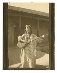 voyage au turkestan, jeune fille jouant du dotar (sartes de tachkent) by paul nadar