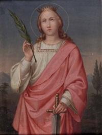 heilige katharina mit märtyrerpalme und schwert by heinrich kluibenschedl