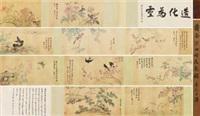 四时花鸟图 (5 works + colophons; various sizes) by jiang tingxi