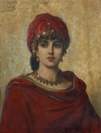 jeune femme en rouge by léon herbo
