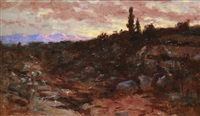 western sunset landscape at dusk by john bond francisco