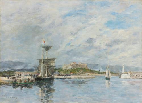 vue du port dantibes le quai le matin by eugène boudin