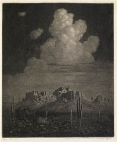 superstition mountain apache trail arizona night by george elbert burr