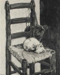 silla con gato dormido by teresa llacer