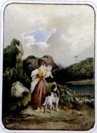 junge mutter mit kind und hund am seeufer by prean hauptmann