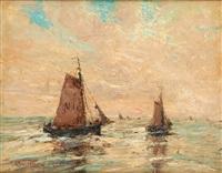bateaux de pêche au large de nieuport by alfred théodore joseph bastien