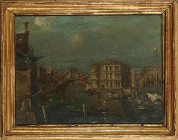 vue du pont du rialto avec le palais des camerlenghi by francesco guardi