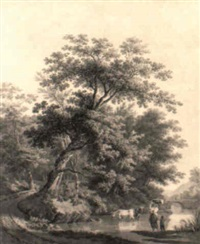 a wooded river landscape with peasants and cattle watering near a bridge by jan apeldoorn