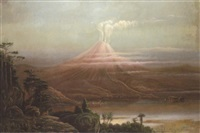 a volcano erupting in a tropical landscape by a. m. morlan