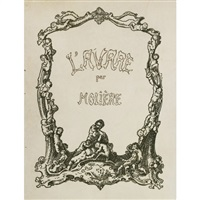 moliere - l'avare (in 2 volumes; one with 20 works, the other with 40 proofs for the previous volume, plus 20 pen and ink preliminary drawings) by johannes thiel