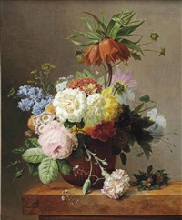 red fritillaries, peonies, convolvulus, coleseed, red hydrangeas, lilacs, carnations and other flowers in a terracotta, together with violets... by arnoldus bloemers