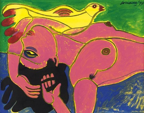 donna rosa e uccello femme rose et oiseau by corneille