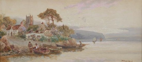 village at waters edge by walter stuart lloyd