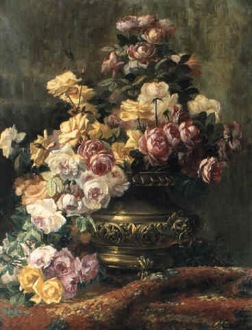 an opulent still life of roses in a brass urn by jean capeinick