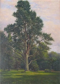 figure seated by a tree in a park by frederick golden short