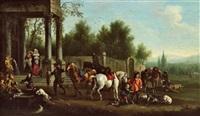 elegante jagdgesellschaft bei der rast by joseph stephan