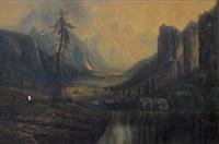 western landscape with indian settlement by henry arthur elkins