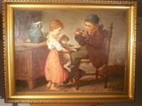 deux enfants jouant avec un chat et une souris by géza peske