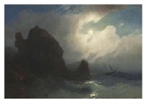 seascape at night by ivan konstantinovich aivazovsky