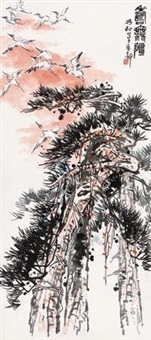 寿无疆 (pine tree and cranes) by lin kai