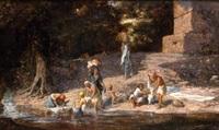 lavandières au bord d'un oued by lieutenant long