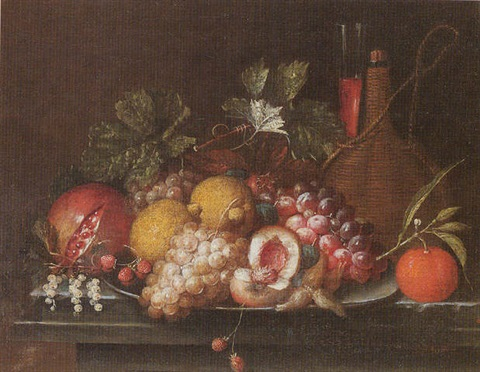Still Life Of Peaches Lemons Grapes Strawberries And Nuts Upon A