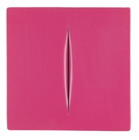 concetto spaziale, pink by lucio fontana
