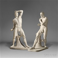 figures of the pugilists creugas and damoxenos (pair) by antonio canova