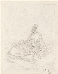 kosak mit totem pferd by peter heinrich lambert von hess
