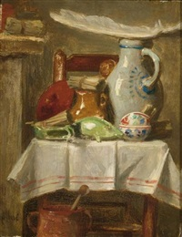 a still life with stoneware jugs and a feather on a kitchen chair by august allebé