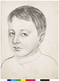 portrait of artist's son by boris mikhailovich kustodiev