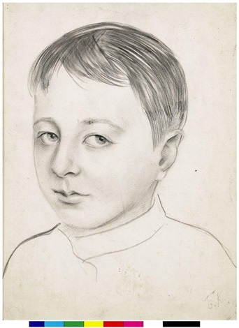 portrait of artists son by boris mikhailovich kustodiev