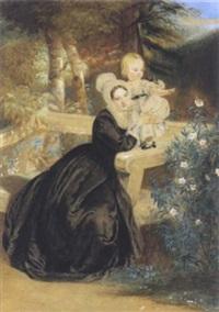 junge mutter und kind in einem park by octavius oakley
