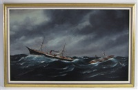 untitled (two ships tossed on rough seas, one breaking up) by solon francis montecello badger