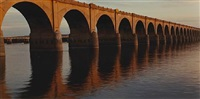 evening light on railroad viaduct, harrisburg, pa. (from susquehanna series) by john pfahl