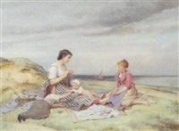 tricot sur la plage by charles auguste romain lobbedez