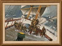 sailors on deck in a gale by antonio jacobsen