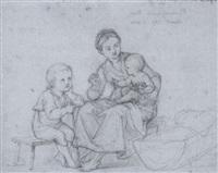 junge mutter mit zwei kleinen kindern by hieronymus hess