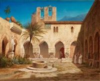 vue af klostergården i palermo by gustaf wilhelm palm